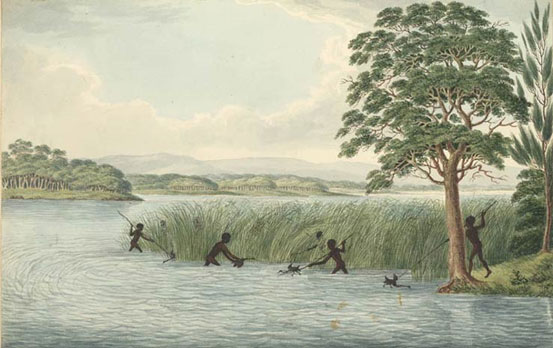Aborigines hunting water birds