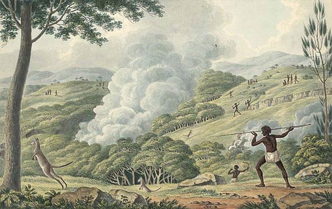 Lycett's Aborigines using Fire to Hunt Kangaroo