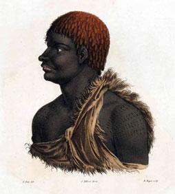 French painting of a Tasmanian Aboriginal man